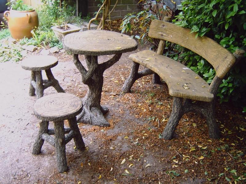 B ton en branches artisan rocailleur salons de jardin for Banc de jardin en ciment