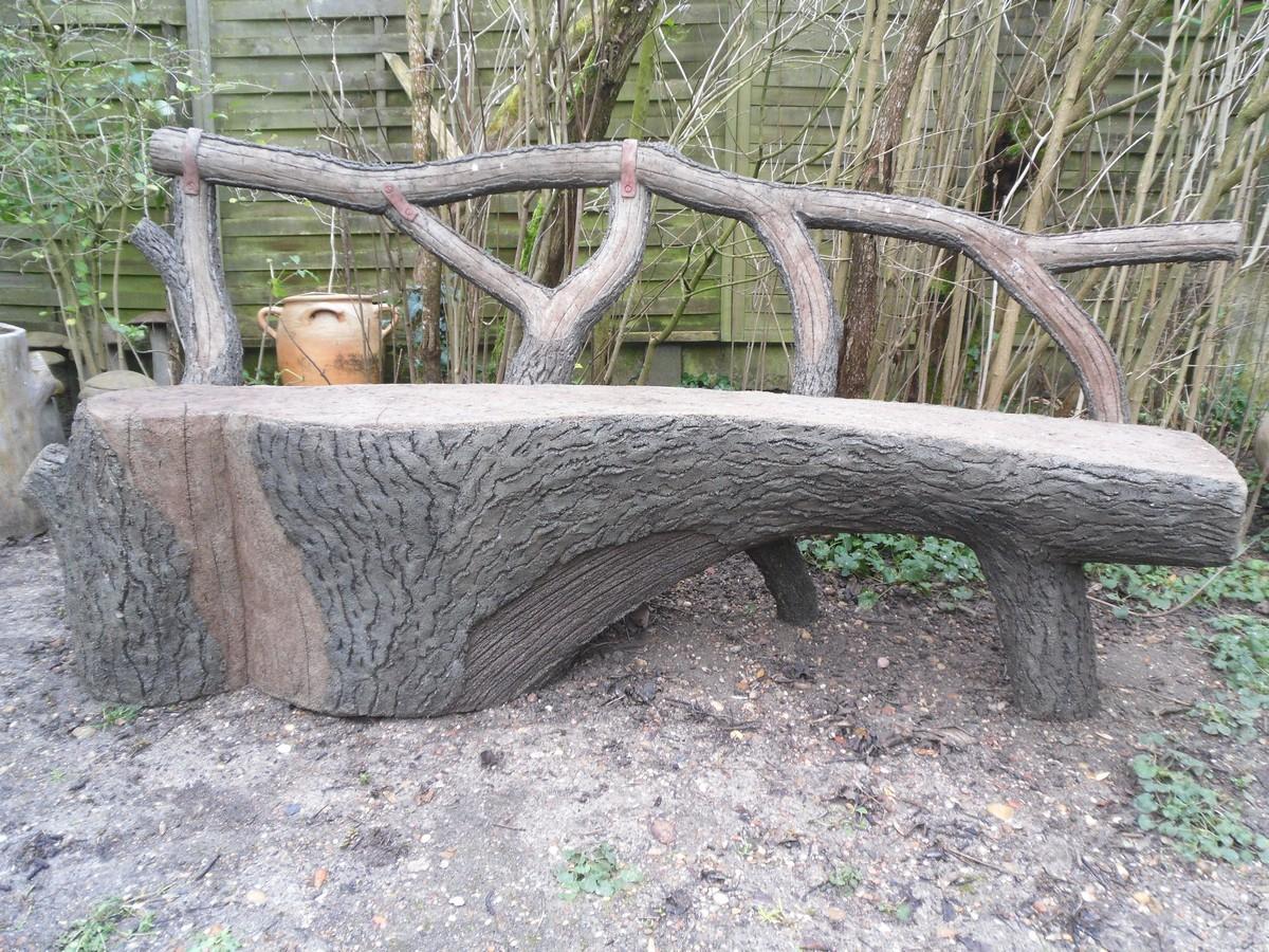 Faux bois en ciment for Banc de jardin en ciment